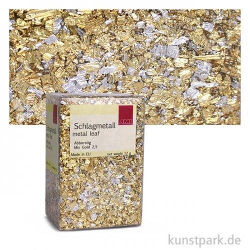 Passione Schlagmetall-Flocken, klein abburstig   Mix Gold (12 g)