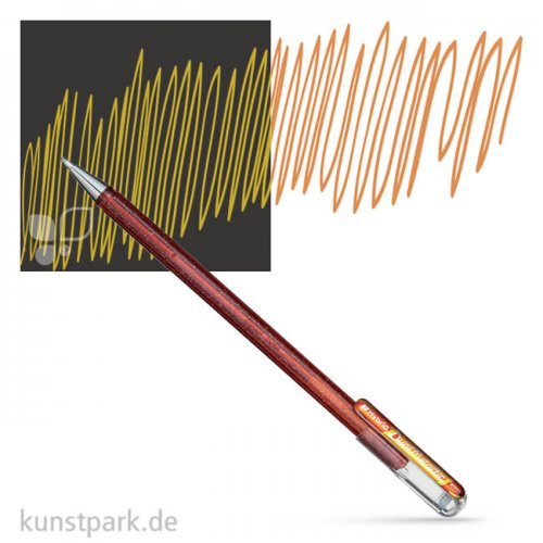 PENTEL Hybrid DualMetallic Glitter Gel Pen 0,5 mm Einzelstift | Orange - Metallic Gelb