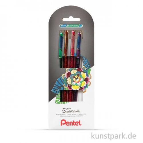 PENTEL Hybrid DualMetallic Glitter Gel Pen 4er Set - Set 1