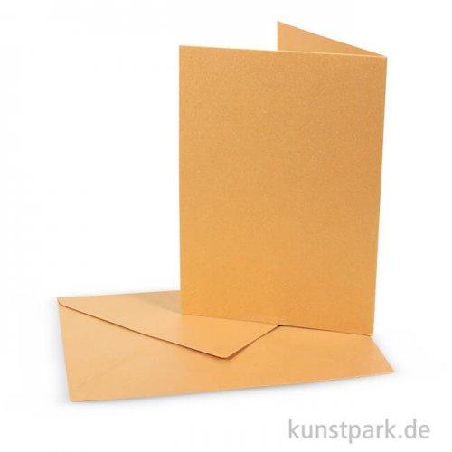 Perlmuttkarte mit Umschlag - Gold, 10,5x15 cm, 10 Stück