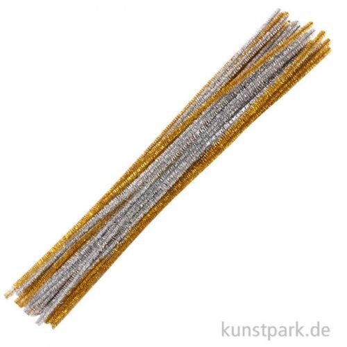 Pfeifenputzer Chenilledraht - Gold-Silber, 50 cm, 50 Stück