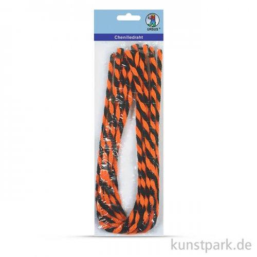 Pfeifenputzer Chenilledraht Halloween, 50 cm, 10 Stück - Orange-Schwarz