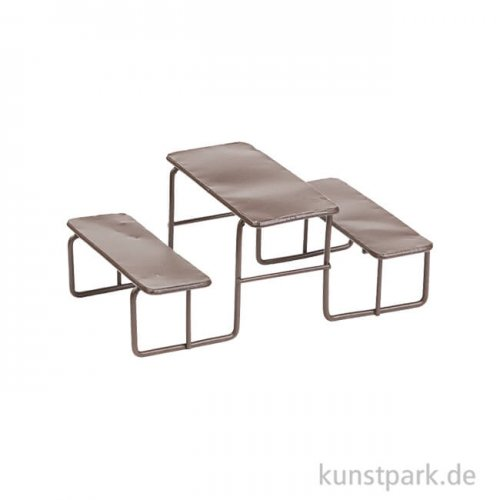 Mini Picknick-Tisch aus Metall - Braun, 11 cm
