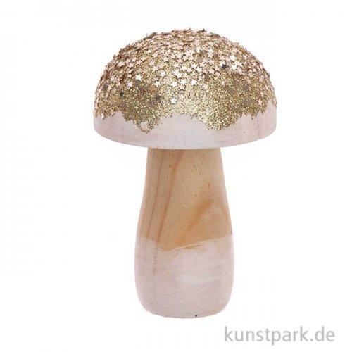 Kleiner Pilz aus Holz mit Gold-Glitter, Größe 6x9 cm