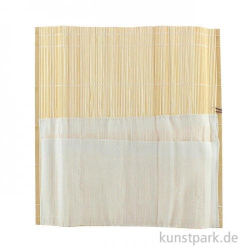 Pinselmatte Bambus natur mit Baumwolltasche ca. 33 x 33 cm