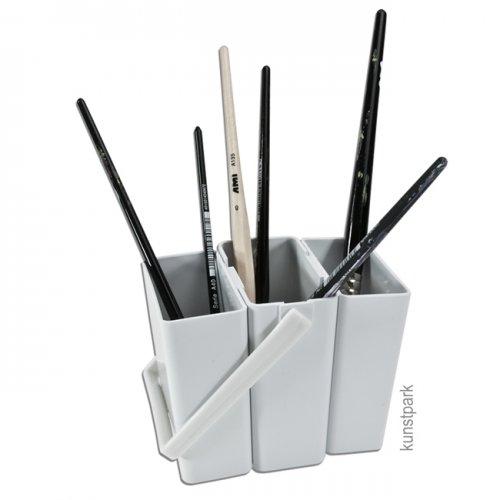 Pinselwascher 3-teilig aus hellgrauem Kunststoff