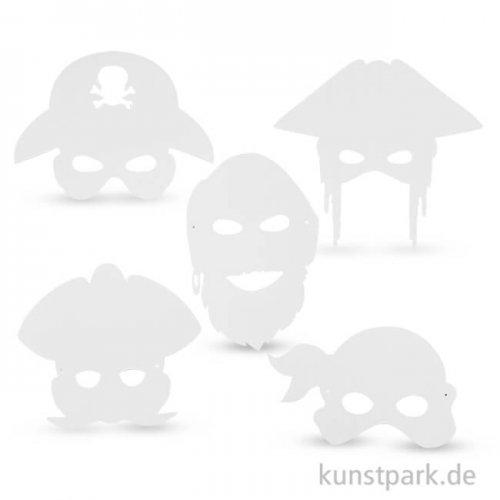 Piraten-Masken aus weißem Karton mit Gummiband, 16 Stück