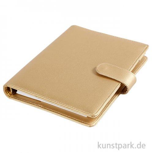 Planer Ringbuchformat aus Kunstleder - Metall Gold