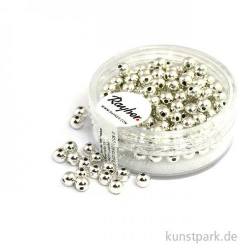 Plastik Rundperlen - Silber Rund | 4 mm - 150 Stück