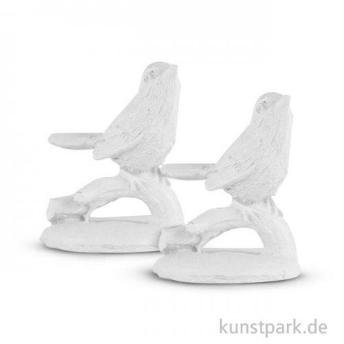 Polyresin-Figur Vogel, 3,5 x 5 cm, mit Klebepunkt, 2 Stück