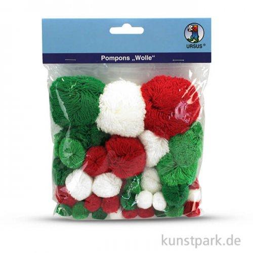 Pompon-Mix - Klassische Weihnachten, 60 Stück sortiert