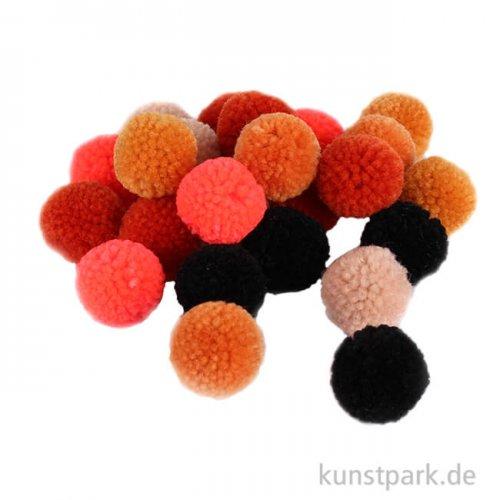Pompon Set aus Garn - Orange-Schwarz - 24 Stück