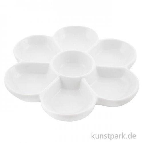 Runde Porzellanpalette mit 7 tiefen Näpfen, Durchmesser 19 cm