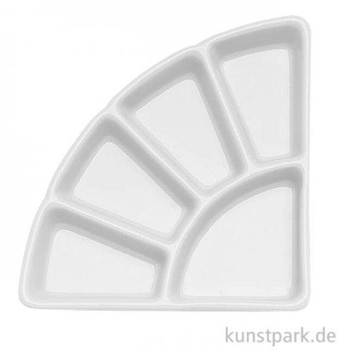 Dreieckige weiße Porzellanpalette mit 5 Wassermulden, 11 x 11 cm