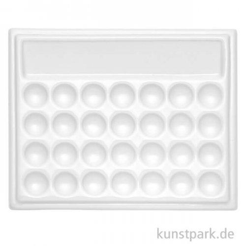Porzellanpalette ECKIG, 28 Näpfe und Wassermulde