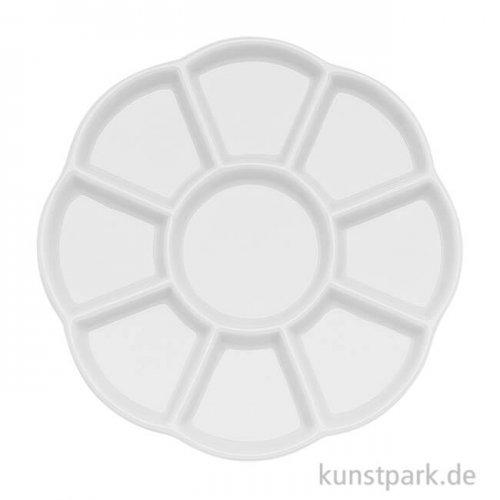 Flache runde Porzellanpalette mit 9 Näpfen, Durchmesser 14 cm