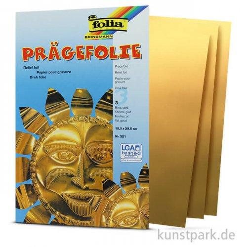 Prägefolienmappe 18,5x29,5cm, 3 Blatt - gold