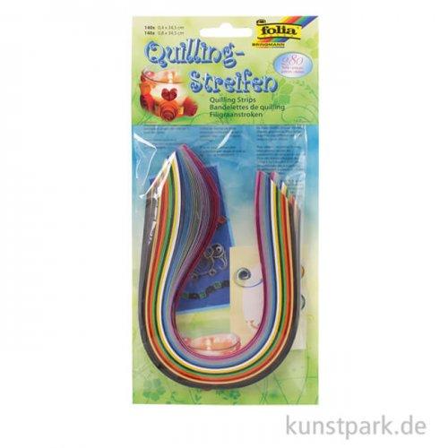 Quilling-Streifen Set, 280 Stück - farbig sortiert