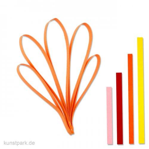 Quillingstreifen - Gelb-Rot, 100 Stück, 0,5 x 78 cm, 4 Farben sortiert