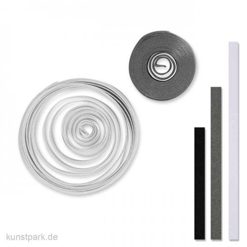 Quillingstreifen - Grau-Weiß-Schwarz, 100 Stück, 0,5 x 78 cm