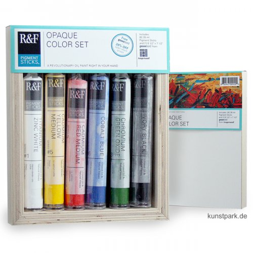R&F Pigment Sticks Set - Opaque Colors - 6 Farben & Gessobord