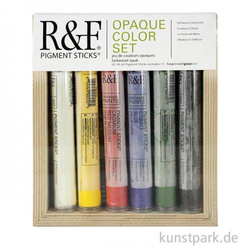 R&F Pigment Sticks Set - Opaque Colors - 6 Farben & Gessobord