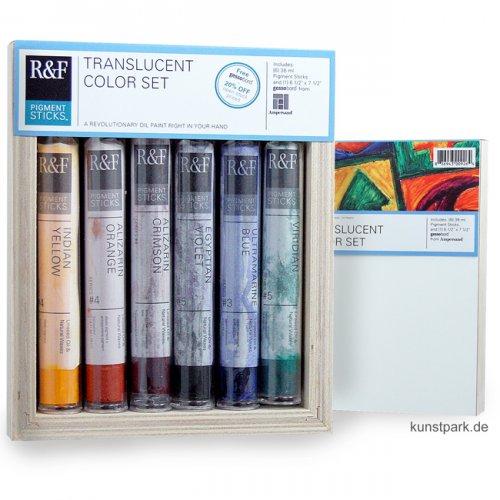 R&F Pigment Sticks Set - Translucent Colors - 6 Farben & Gessobord