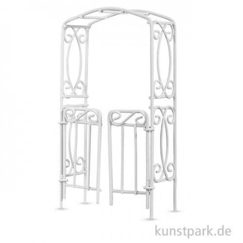 Rankbogen mit Türen - Weiß, 8x15x3,7 cm, 1 Stück