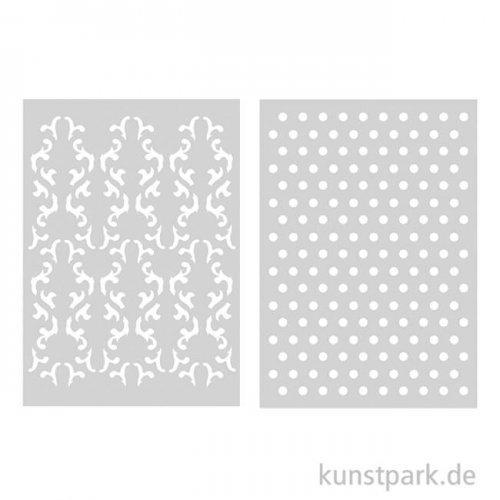 Rayher Schablonen-Set 4 DIN A5, selbstklebend, 2 Designs