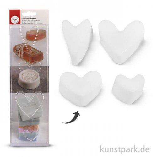 Rayher Seifengießform Herzen, Tiefe 3 cm, 4-teilig sortiert