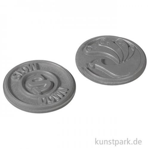 Seifenstempel - slow down + Pfau - rund 30 mm, 2 Stück