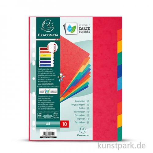 Register aus Manilakarton, DIN A4, 225g, 10 Stück farbig sortiert