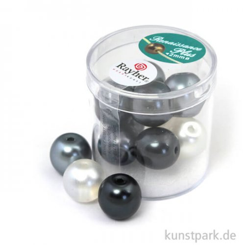 Renaissance Glaswachsperlen MIX halbtransparent - 14 mm - 12 Stück 12 Stk. | Weiß-Grau