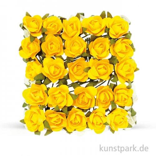 Röschen mit Draht, 15 mm 25 Stk. | Gelb