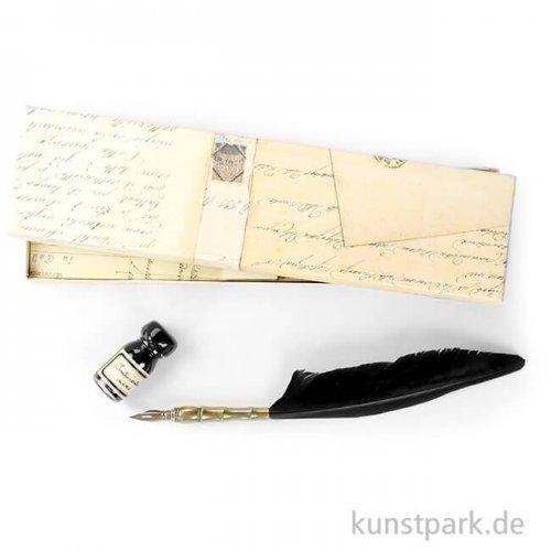 Rubinato Kalligrafie-Set mit schwarzem Gänsekiel mit Metallspitze, 2 teilig