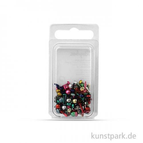 Rundkopf-Brads, 4 mm, 100 Stück Metallic