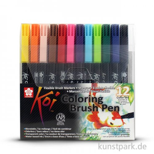 Sakura KOI Coloring Brush Pen Set - 12 verschiedene Farben