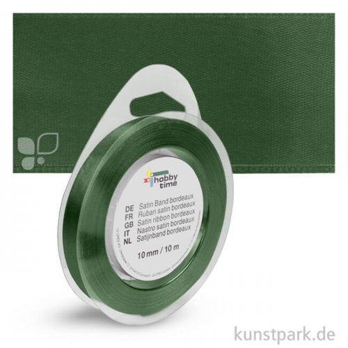 Satinband - 10 mm Breite - 10 m Länge Einzelfarbe   Dunkelgrün