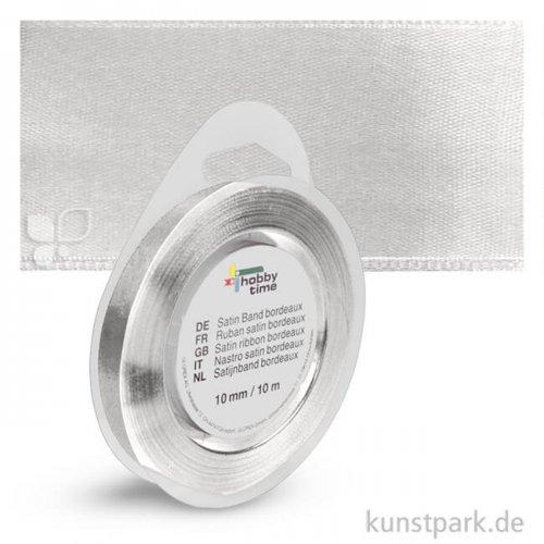 Satinband - 10 mm Breite - 10 m Länge Einzelfarbe | Silber