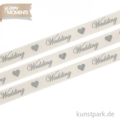 Satinband Wedding, 8 m auf Rolle - creme