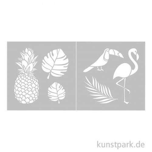 Schablone 20,23x20,23 cm - Tropical, 2 Stück