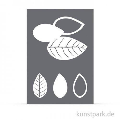 Schablone - Blätter, mit Rakel