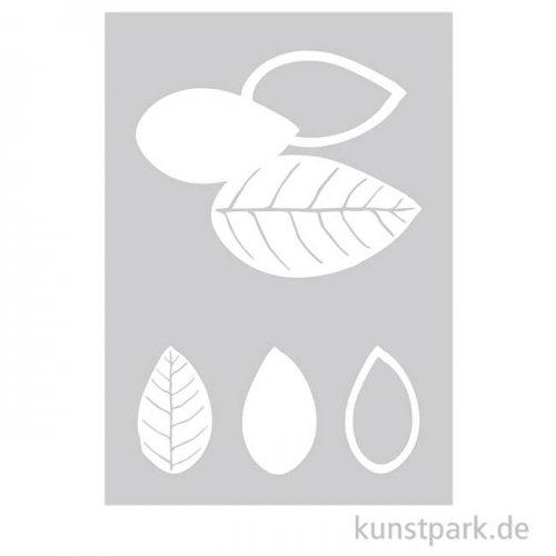 Schablone - Blätter, mit Rakel, DIN A5