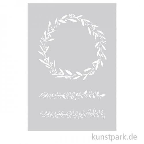 Schablone - Blätterranken, mit Rakel, DIN A5