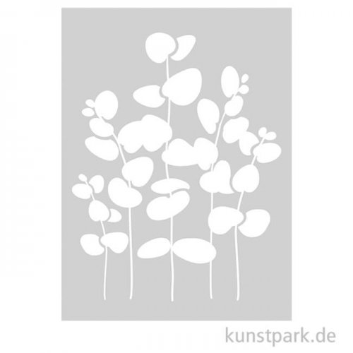 Schablone - Eukalyptus, mit Rakel