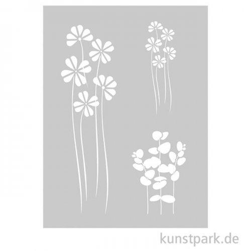 Schablone - Flower Mix, mit Rakel