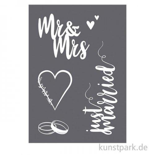 Schablone - Hochzeit, DIN A4 mit Rakel