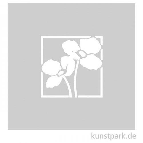 Schablone - Mohnblumen, Größe 72x72 mm