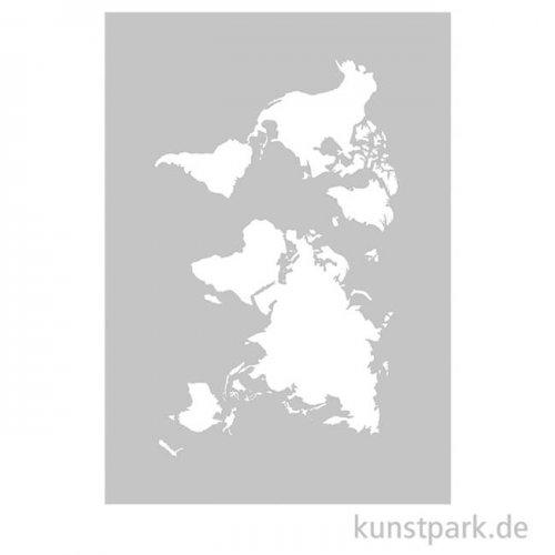 Schablone - World Map, mit Rakel, DIN A5