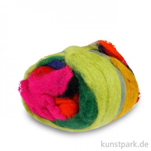 Schafwolle Multicolor zum Nassfilzen 100 % Natur, 100g